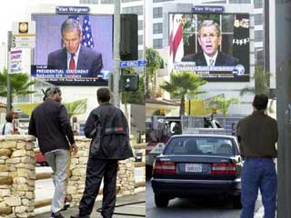 Large outdoor LED display in Los Angeles broadcasts the speech of President Bush immediately after the terrorist attack