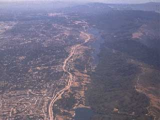 Air view of the mountain ridge that is a natural boundary of Silicon Valley