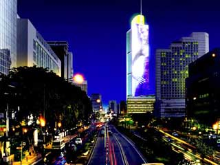Giant LED screens of The Grand Indonesia tower (Jakarta, Indonesia)