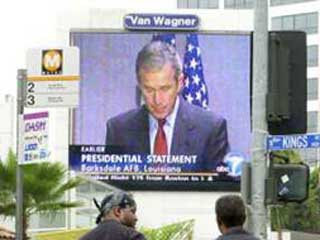 The US President's address on a large outdoor screen in Los Angeles