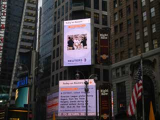 Informational outdoor screen Reuters news agency in New York