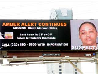 Outdoor screen Amber Alert announcement