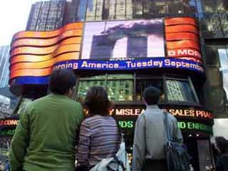 Large outdoor LED screen in New York that belongs to ABC TV studio