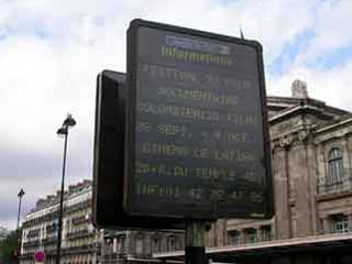 Informational outdoor screen on Paris