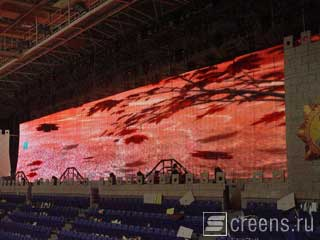 Large rental LED screen assembled for the concert show on stage