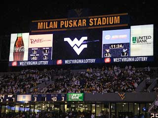 Outdoor LED screen at the Milan Puskar Stadium