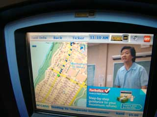 Touchpad advertizing screen in taxi cab