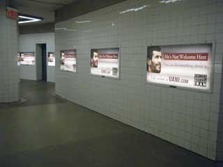 Digital tunnel – advertising displays in an underground passage between stations in New York