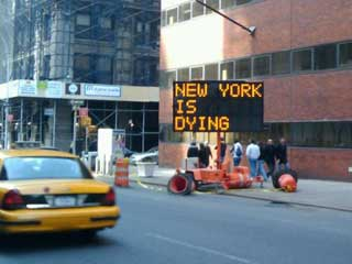 Hacker's content on electronic informational signs in New York