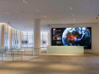 Video screen behind the IAC reception desk