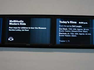New York City's MOMA LCD displays behind the reception desk