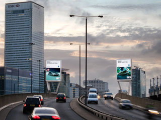"LED video screens ""Two Towers East"" operated by the advertising company Ocean Outdoor in London"