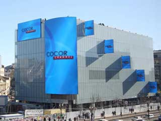 Media façade LED screens of Cocor Shopping Center in Bucharest