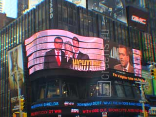 ABC LED screen in wavy strips on Times Square in New York
