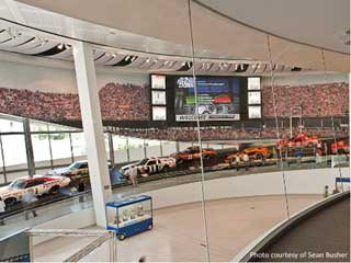 Christie MicroTiles Fan Billboard in NASCAR Hall with 18x14 tiles and 7.2x4.2 m sizes