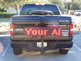 LED panel with running letters function on the back of the pickup truck