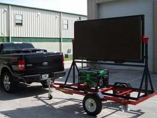 Simplified version of a trailer with LED panels for small private parties