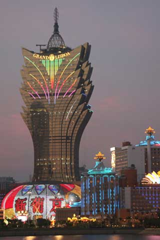 Façade media sur l'Hôtel Grand Lisboa Resort, Macau SAR, Chine
