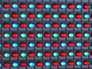 Fragment of a LED module for outdoor screen with 2R1G1B pixel structure