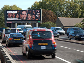 The advertising LED billboard that belongs to JCDecaux