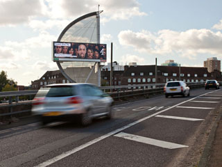 The advertising LED billboard in London that belongs to JCDecaux