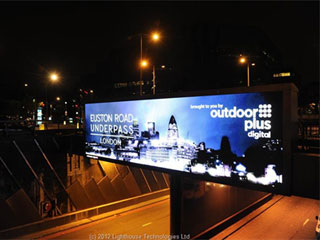Modern outdoor 12 mm pitch LED screen in London