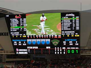 LED screen and scoreboard at the baseball stadium