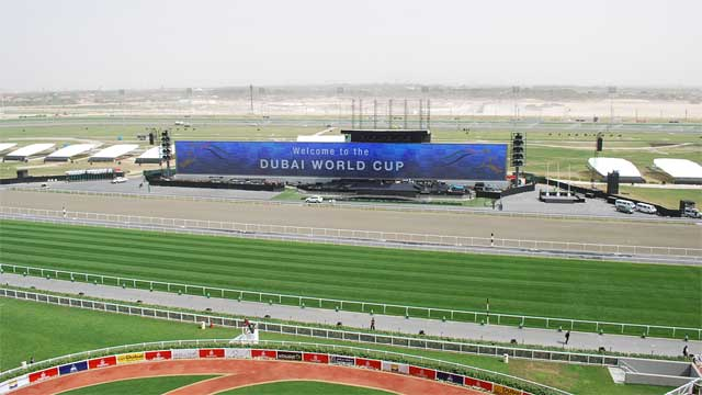 Gigantic LED screen in Dubai at the World Cup Racing competitions