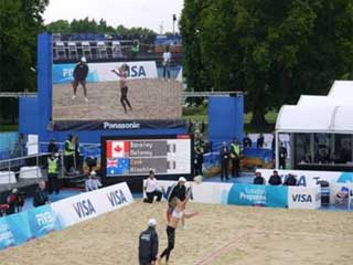 LED screen at the London volleyball competitions