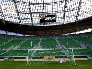 Two LED screens at the Wroclaw Stadium in south west Poland