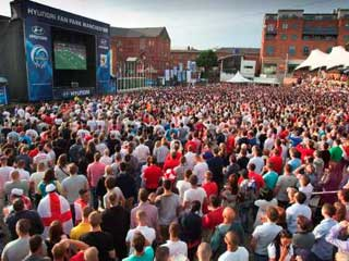 Big LED screen in Manchester fan zone, 2010
