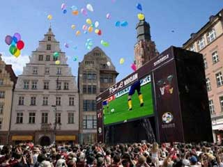 Pantalla LED del fan zone - Euro 2012 en Wroclaw