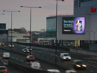 An advertising LED billboard 15x9 m in London