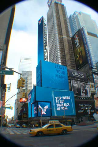 Advertising LED screen in New York Times Square