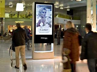 Advertising LCD totem in shopping mall