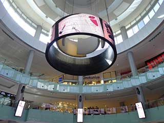 360° round LED screen on a commercial and entertainment complex Dubai Mall