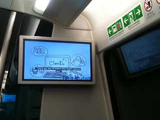Hacking of the Airport Express train advertising content in Hong Kong