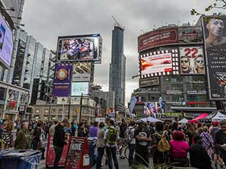LED screens on Dundas Square in Toronto