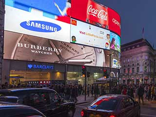 LED screens on Piccadilly Circus in London