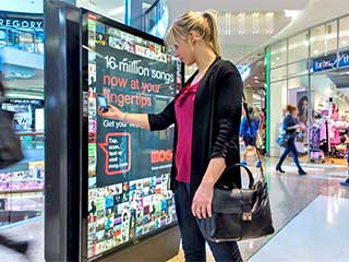 Interactive advertising display in shopping mall