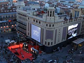 LED screens on the facades of Callao Square in Madrid