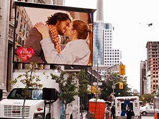 Mobile LED screen with a Valentine image