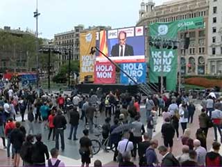 LED screens during protests in Barcelona