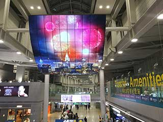 Écran du LG OLED à l'aéroport d'Incheon