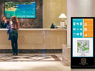 Digital Screens in Hotel Lobby